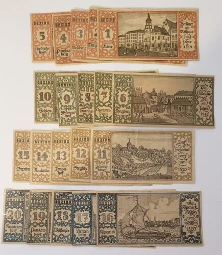 Germany City Districts of Berlin 20 Piece Notgeld Lot Emergency Money Berlin