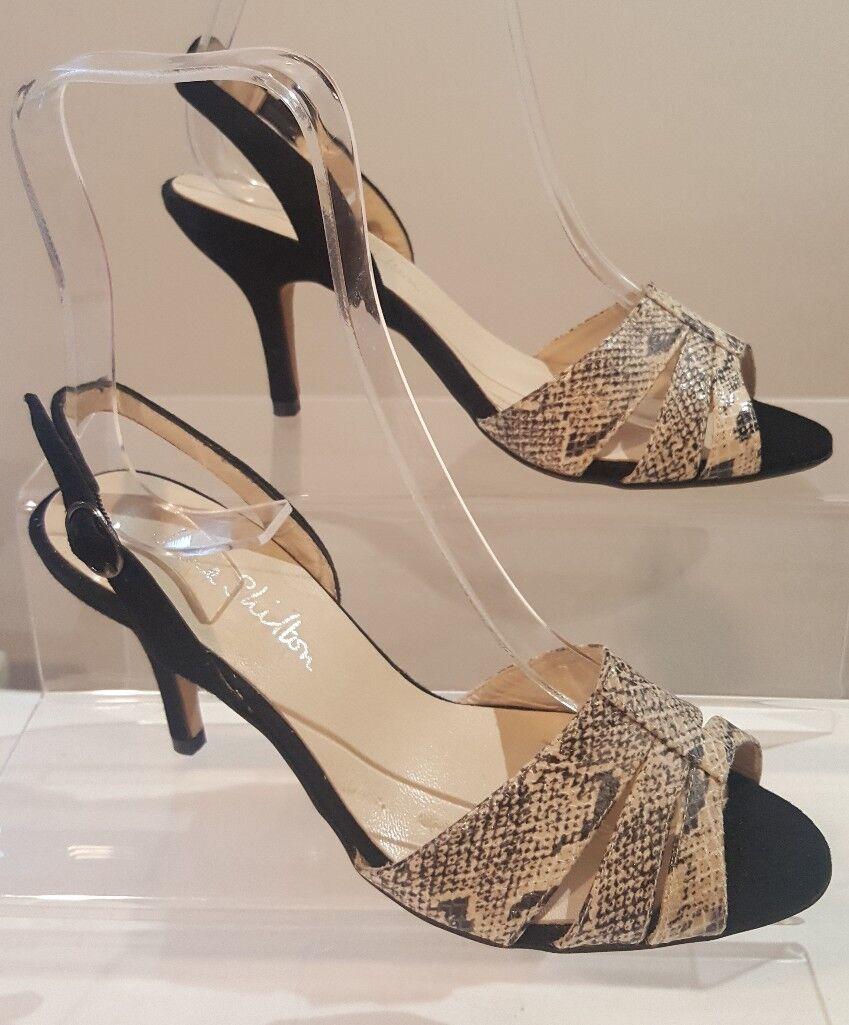 Jane Shilton Ladies Black Suede & Leather Snakeskin Sandals Size UK 5.5 EU 38.5