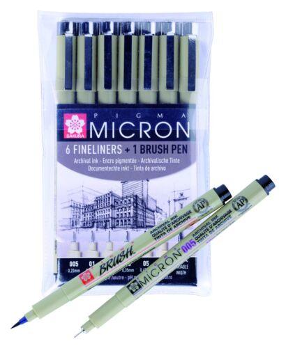 Sakura Pigma Micron Set of 6 x Fine Line Pens /& 1 Brush Pen Black Archival Ink
