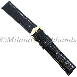 19mm-Gilden-Black-Luxury-Flat-Stitched-Genuine-Lizard-Mens-Watch-Band-Regular