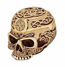 Celtic Skull Embroidered Iron On Badge Applique Patch P3705