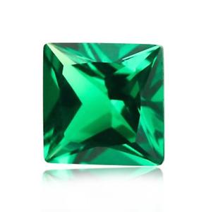 Lab-Created Emerald Green Nano Crystal Square Princess Loose Stones 3x3-30x30