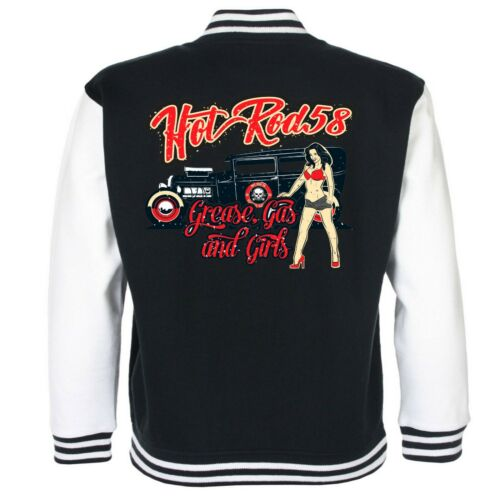 Hotrod 58 American Varsity Baseball Garage Jacket Grease Gas Girls Rat Rod Car