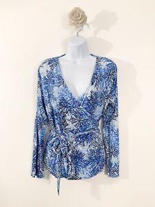 ladies-Joe-Browns-Branch-Blue-Long-Sleeve-Wrap-Blouse-Size-12-Fashion-Blogger
