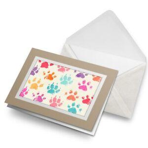 Greetings-Card-Biege-Cool-Funky-Paw-Prints-Animals-Pets-8479