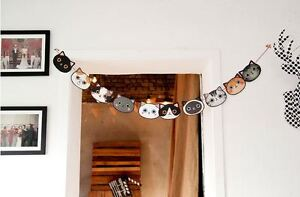 Image Is Loading Cute Cat Bunting Garland Home Decor Interior Decoration
