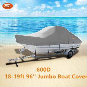 Heavy-Duty-600D-18-19ft-5-4-5-7m-96-Trailerable-Jumbo-Boat-Cover-Light-Gray