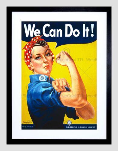 WAR SECOND WORLD WE CAN DO IT WOMEN VINTAGE BLACK FRAMED ART PRINT B12X204
