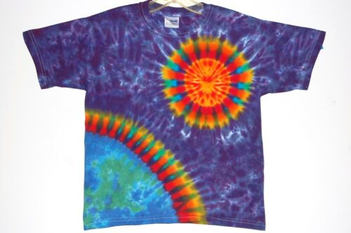 Youth TIE DYE Earth Sun T Shirt hippie kid sizes XS Sm Med Lg custom art tye die