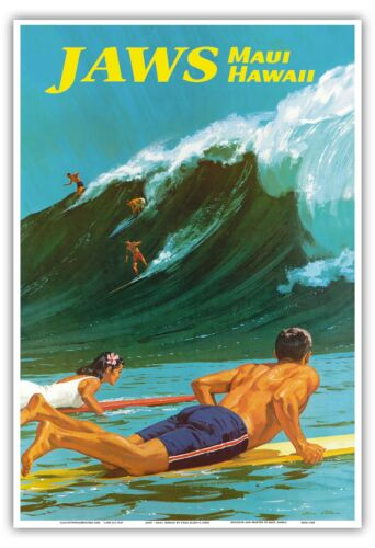 1950s Vintage Travel Poster Print Allen Hawaii Jaws Maui Big Wave Surfing