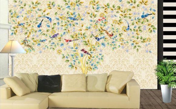 3D alberi colorati Parete Murale Carta da parati immagine sfondo muro stampa