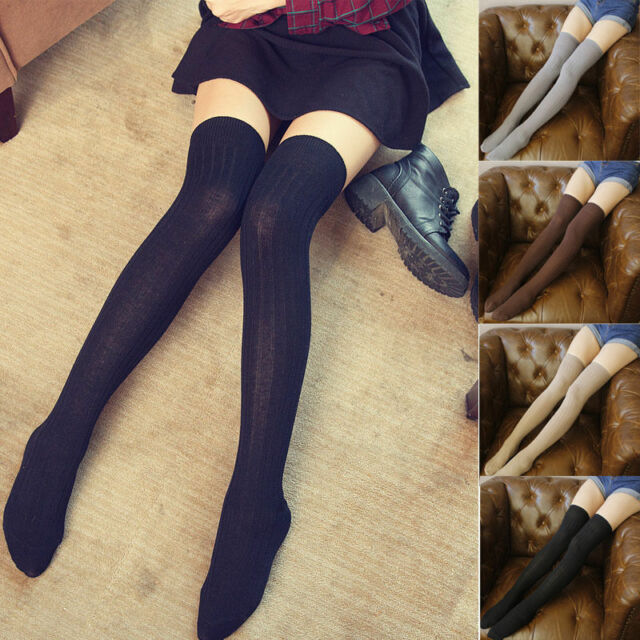 Women Winter Warm Cable Knit Over knee Long Boot Thigh-High Socks Leggings Nice