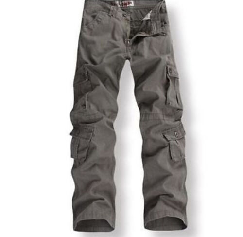 New Mens Womens Military Army loose Cargo Pocket Pants Baggy Trousers Pant 28-38