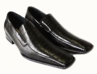 NEW MENS LOAFERS SLIP ON COMFORT LEATHER LINED DRESS SHOES FREE SHOE HORN /BLACK