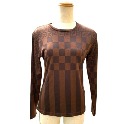 Fendi Vintage Zucca FF Logo Pequin Strips Top Long