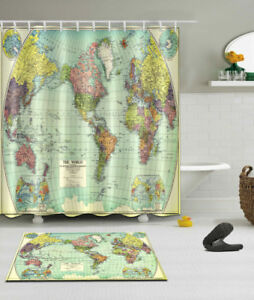 Details about Retro World Map Bathroom Decor Waterproof Fabric Shower  Curtain Hooks Mat Set