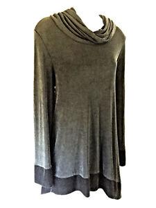 Travelers-by-Chico-039-s-Black-Velvet-Trim-Stretch-Knit-Asymmetrical-Tunic-Top-Shirt