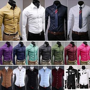 Elegante-Hombre-Vestido-de-manga-corta-camisas-Casual-Formal-Slim-Trabajo-Sueter