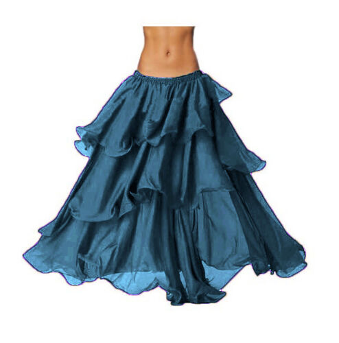 Details about  /TEAL Chiffon 3 Layer Skirt Belly Dance Jupe Costume Tribal Dance Wear Costume