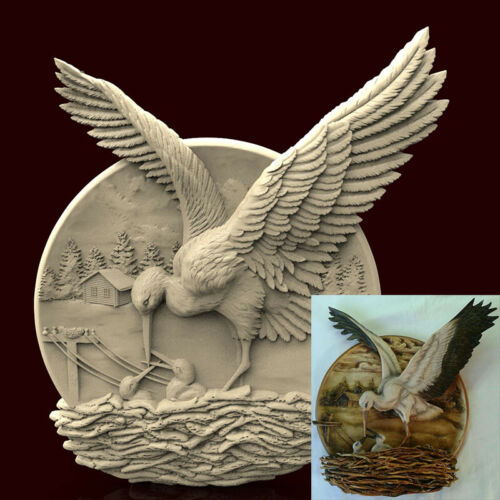 Engraver Carving Machine Relief Artcam Plate Stork 3d STL Model CNC AP012