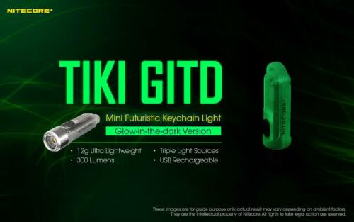 High CRI and UV LED 300 Lumens Nitecore TIKI GITD Rechargeable LED Keylight