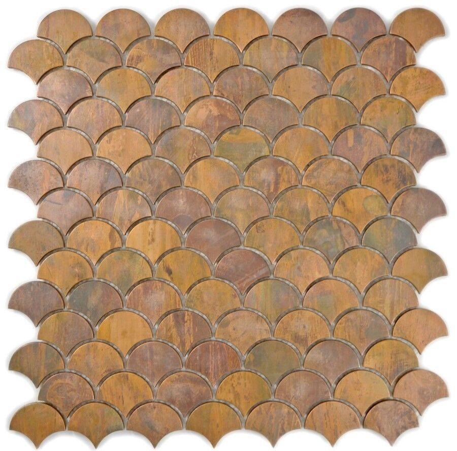 Mosaïque cuivre éventail brun cuisine bain miroir tuile 49-1504_f   10 plaques