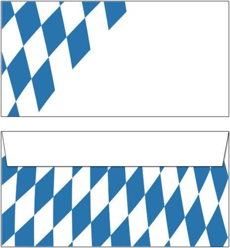 10 BUSTE Motivo Baviera ROMBO DIN Lang bianco//blu Oktoberfest Baviera motivo