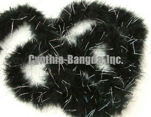 Black w/ silver 15 Grams Marabou Feather Boa 6 Feet Long Crafting Sewing Trim