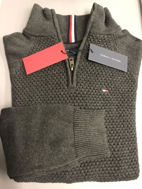 Tommy Hilfiger Half Zip Waffle Knit Sweater Gray Mens Small New