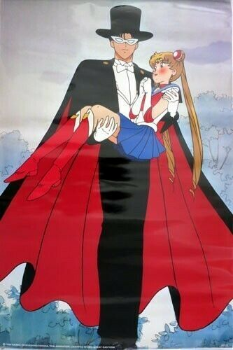 Sailor Moon Tuxedo Mask Carrying Sailor Moon Paper Poster Anime Licensed MINT