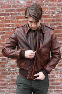 4ffa632914816a Aviator A-2 Flight Jacket Distressed Brown Real Cowhide Leather ...