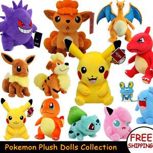 Pokemon Plush Dolls 25cm Pikachu Gengar Squirtle Pocket Stuffed Toys Kids Adults