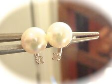 SALTWATER JAPAN AKOYA 6 MM WHITE ROUND PEARL DIAMOND STUD EARRINGS 14K W GOLD