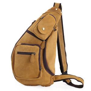 5b6693a1a45 Men's Leather Vintage Sling Bag Chest Pack Messenger One Shoulder ...