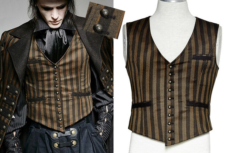 Steampunk striped vest waistcoat gothic punk vintage suit coffee PunkRave Men