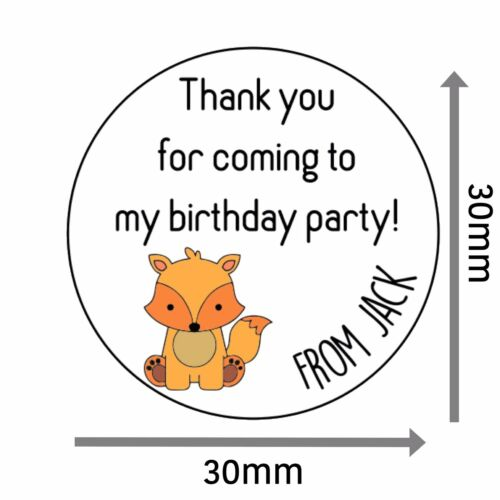 Personalised Cute Fox Stickers Birthday 30mm Thank You Party Labels Bag 129