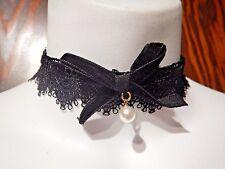 BURGUNDY/BLACK LACE VELVET GARTER BELT CHOKER ribbon bow gothic lolita pearl 5E