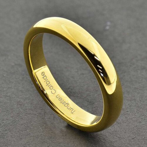 Tungsten Carbide 18k Gold Dome Engagement Wedding Band Mens Womens Bridal Ring