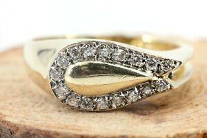 Gold-Ring-585-Diamant-14K-Gelbgold-17-Brillanten-0-17ct-VS1-H-Gr-54