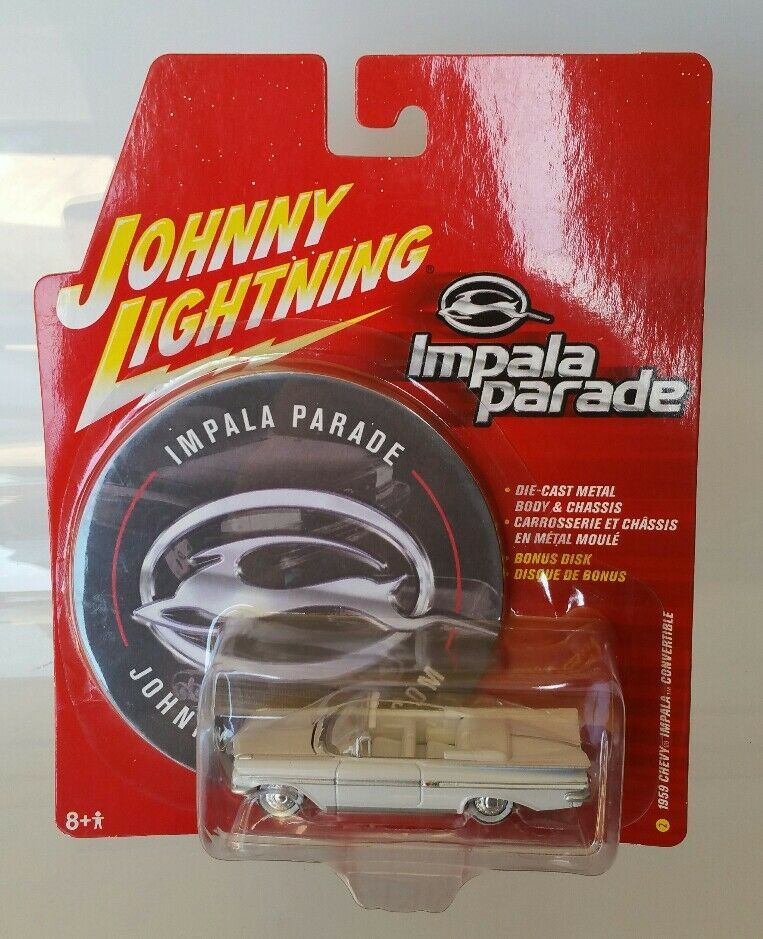 RARE JOHNNY LIGHTNING 1959 CHEVY IMPALA Convertible blanc Lightning Chase Parade