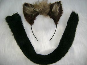 Hyena-Ears-And-Tail-Dark-Brown-amp-Light-Brown-Fancy-Dress-Clip-On-Tail-With-Ears