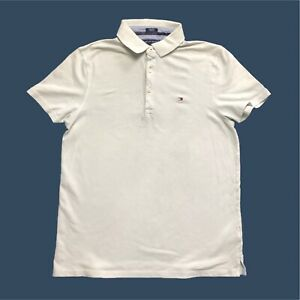 Mens-Tommy-Hilfiger-Polo-Shirt-Small-Custom-Fit-Short-Sleeve-Light-Grey