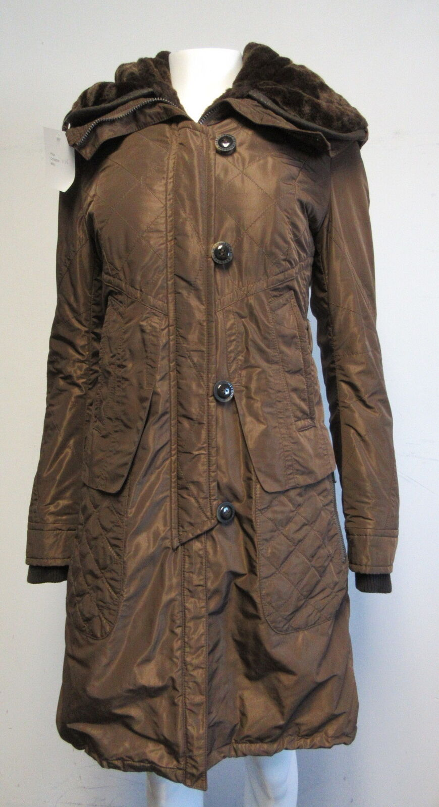 GREENSTONE brown insulated coat w  faux fur lined hood sz 36  4