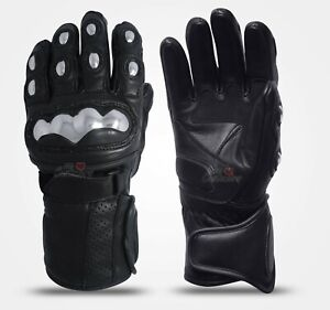 Men-Thermal-Lining-Motorbike-Riding-Genuine-Leather-Gloves-Steel-Knuckle-Protect