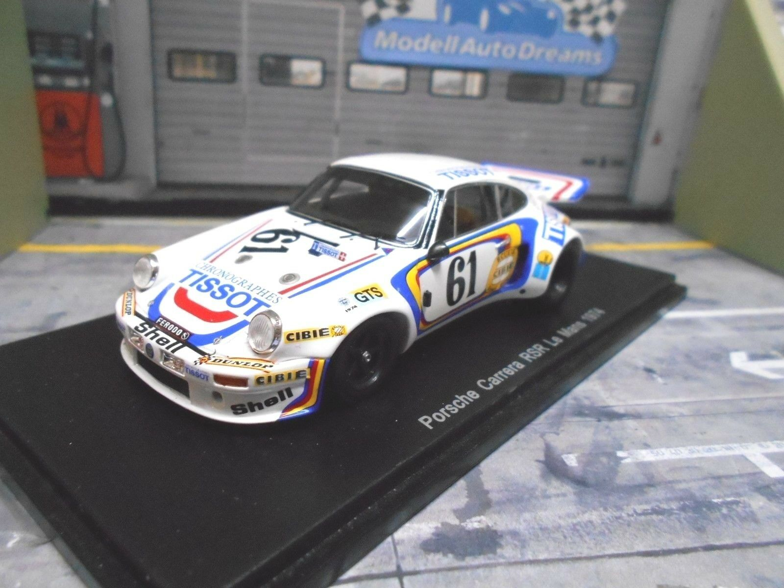 Porsche 911 carrera 3.0 RS le mans 1974 Tissot Elford Ball resin Spark 1 43
