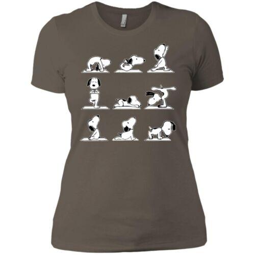 Peanuts Snoopy Chien Charlie Marron Drôle Yoga Positions Noir Femmes T Shirt