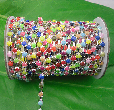 SS16 Costume Applique 4mm lot color Acrylic rhinestone silver Trimming Chain