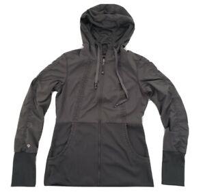 Jockey-Reversible-Women-039-s-Active-Jacket-Gray-Full-Zip-Hooded-Thumb-Holes-Sz-Lrg