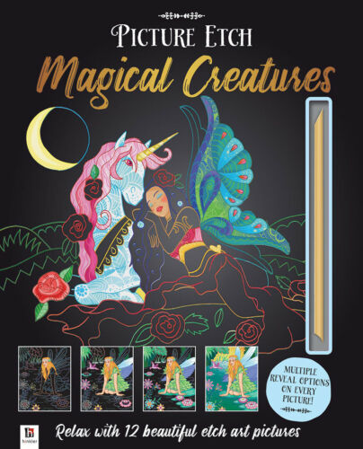 NEW Picture Etch Magical Creatures Unique Scratch Art Relaxing Fun Creative Gift