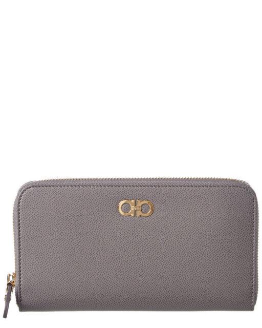 Salvatore Ferragamo Womens Double Gancini Leather Zip Around Wallet Grey For Sale Online